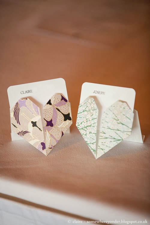 Origami wedding hearts