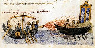 Pintura que representa el fuego griego como arma de constantinopla