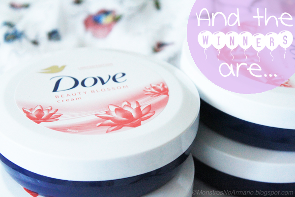 Dove Beauty Blossom Cream GIVEAWAY WINNERS !