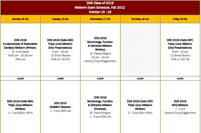 Dental School First Year Midterm Schedule