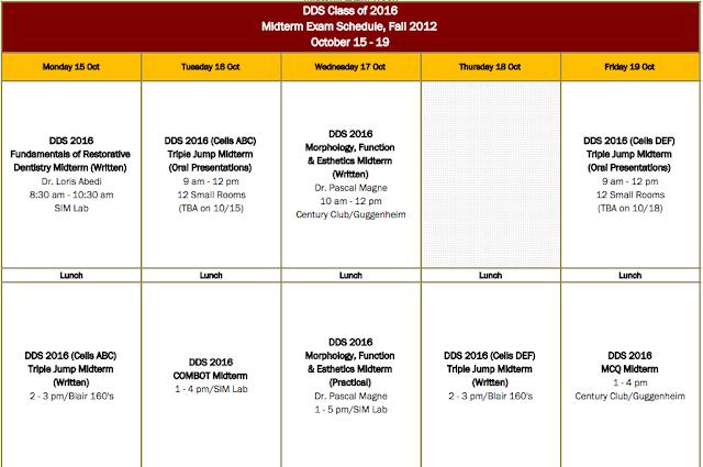 Dental School First Year Midterm Schedule