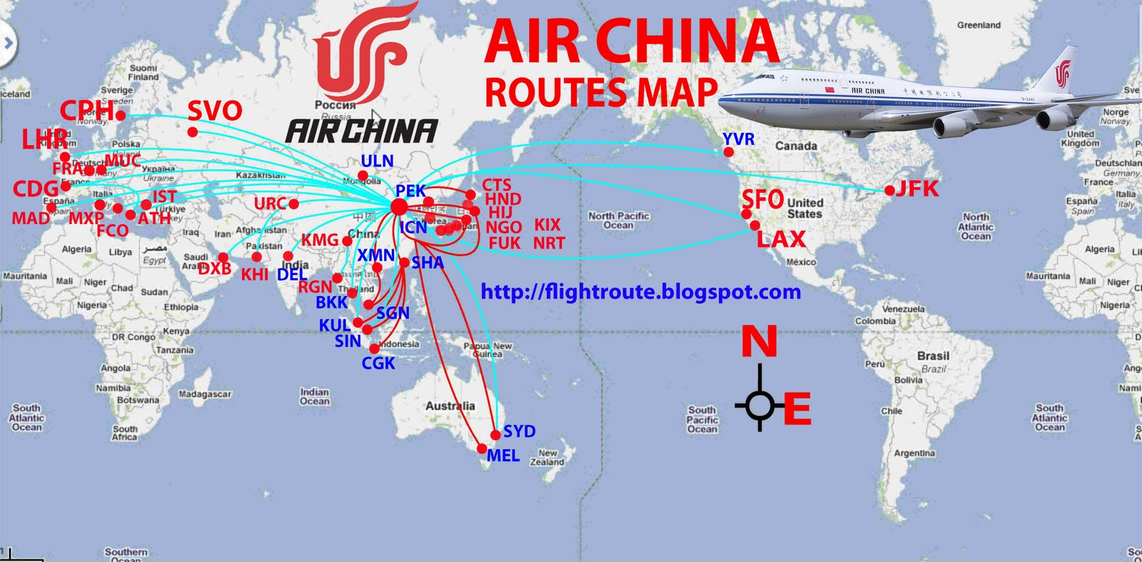 Airlines: Air China Routes Map