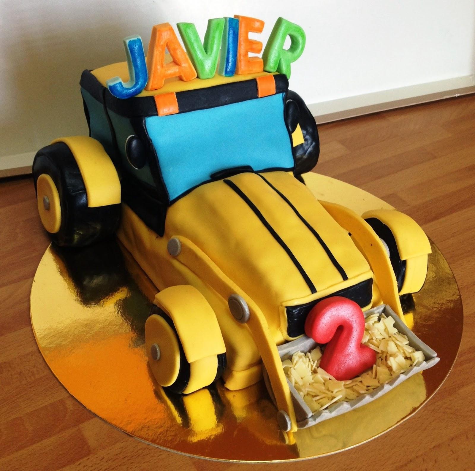 tarta decorada fondant excavadora, tarta fondant excavadora; tarta decorada excavadora, tarta excavadora