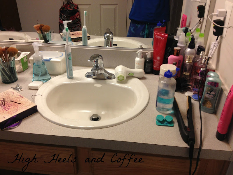 As you can see I have a lot of hair, face and body products scattered  title=