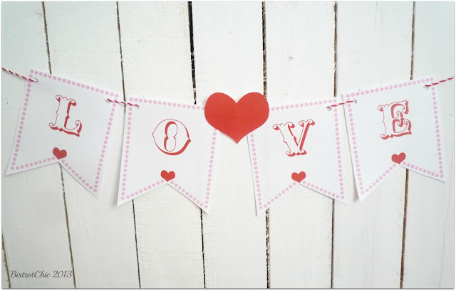 Free Valentine printable flag from BistrotChic