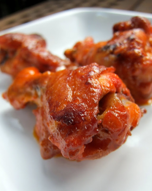 Baked Buffalo Wings - only 3 ingredients (chicken, hot sauce and butter) Bake the wings and then toss in sauce. So delicious and healthier than fried wings. Great for lunch, dinner or parties. Serve with celery and ranch or bleu cheese dressing.