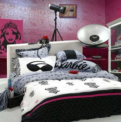 habitación rosa blanco negro