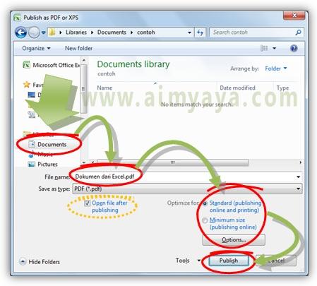 Gambar: Cara mengatur nama dan format file PDF yang akan dibuat dari Microsoft Excel
