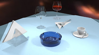 layed table with ash tray and glasses