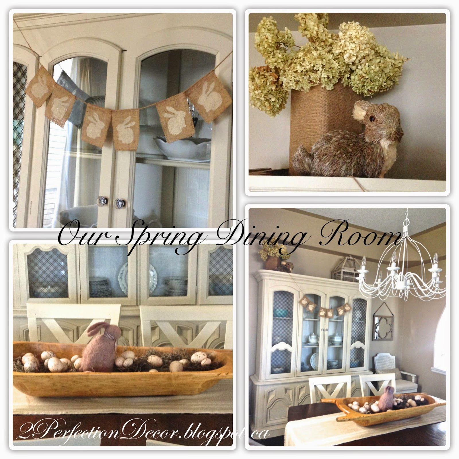 On Top Of Our Dining Hutch I Placed A Bunny With Burlap Vase Full Dried Hydrangeas