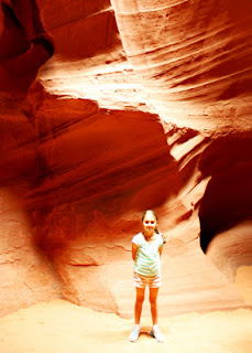 Tessa at Upper Antelope Canyon near Page, which may be accessed only by guided tour. You need a four-wheel drive vehicle and experienced driver to get there!