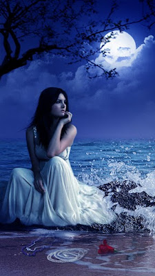 Alone Girl Sitting in Moon Light Wallpaper
