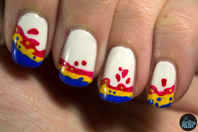 nails, nail art, nail polish, red, yellow, blue, breathe carolina, hello fascination, music monday, hey darling polish