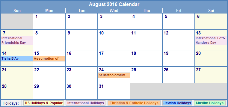 August 2016 Calendar with US Holidays Free, August 2016 Printable ...