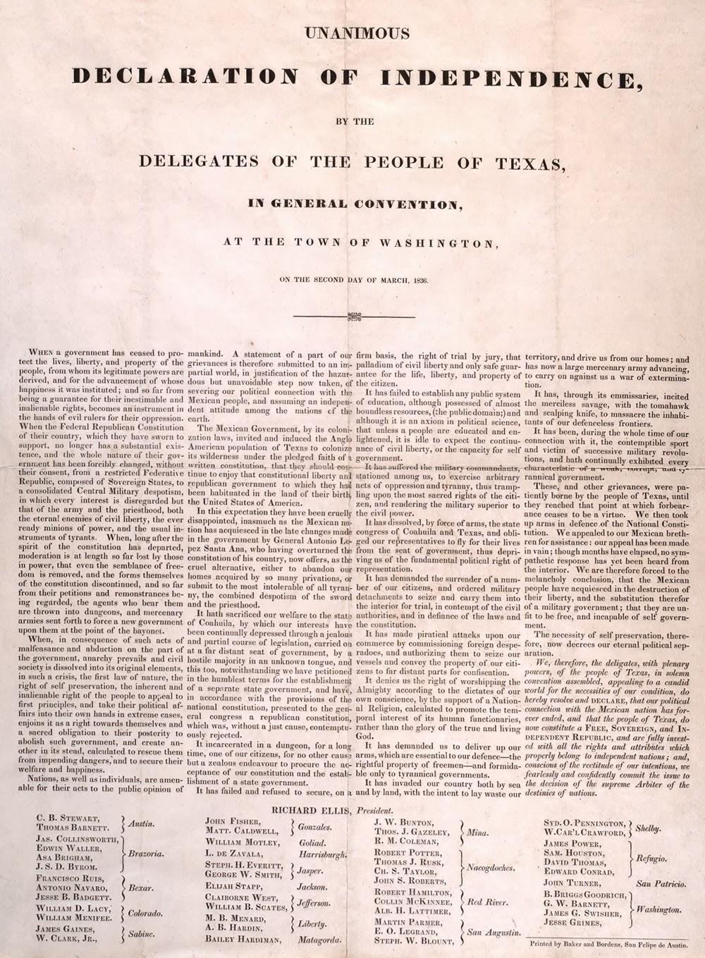 TLAMATQUI: Declaración de Independencia de Texas ( 2 de marzo de 1836)