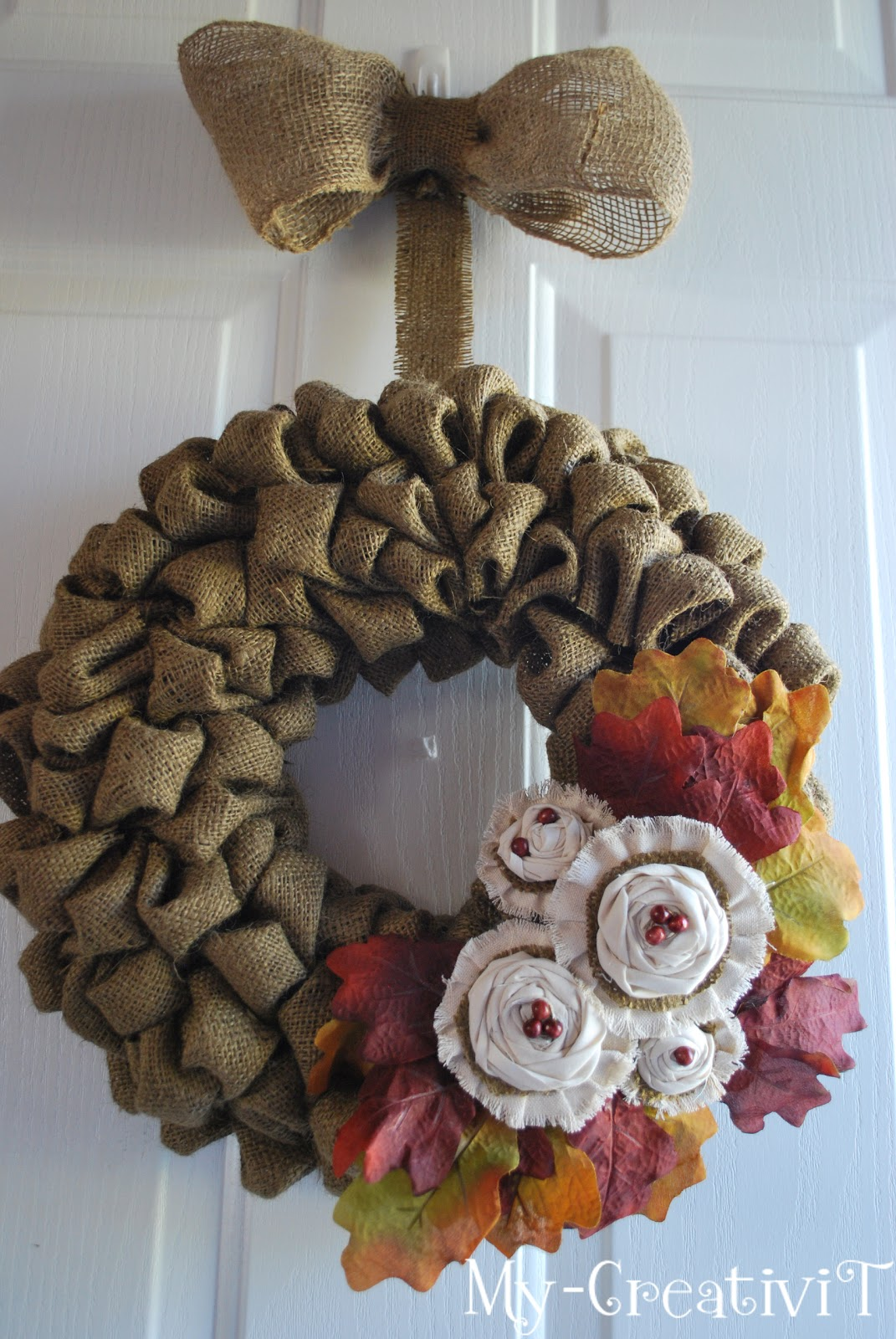 My creativit diy burlap wreath for What to make with burlap