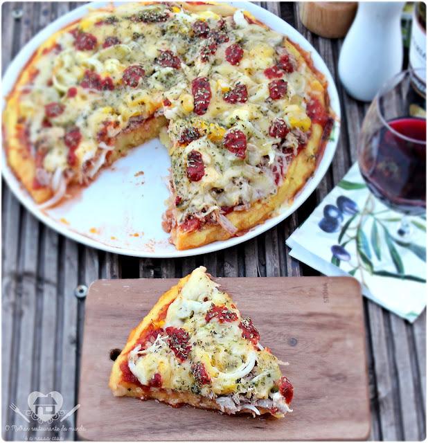 Receita  criativa de pizza de polenta