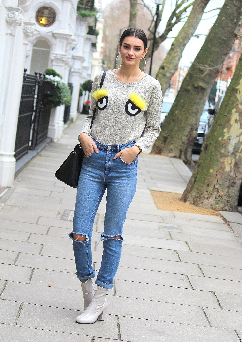 patent boots and 3d fluffy eyed jumper worn by peexo fashion blogger