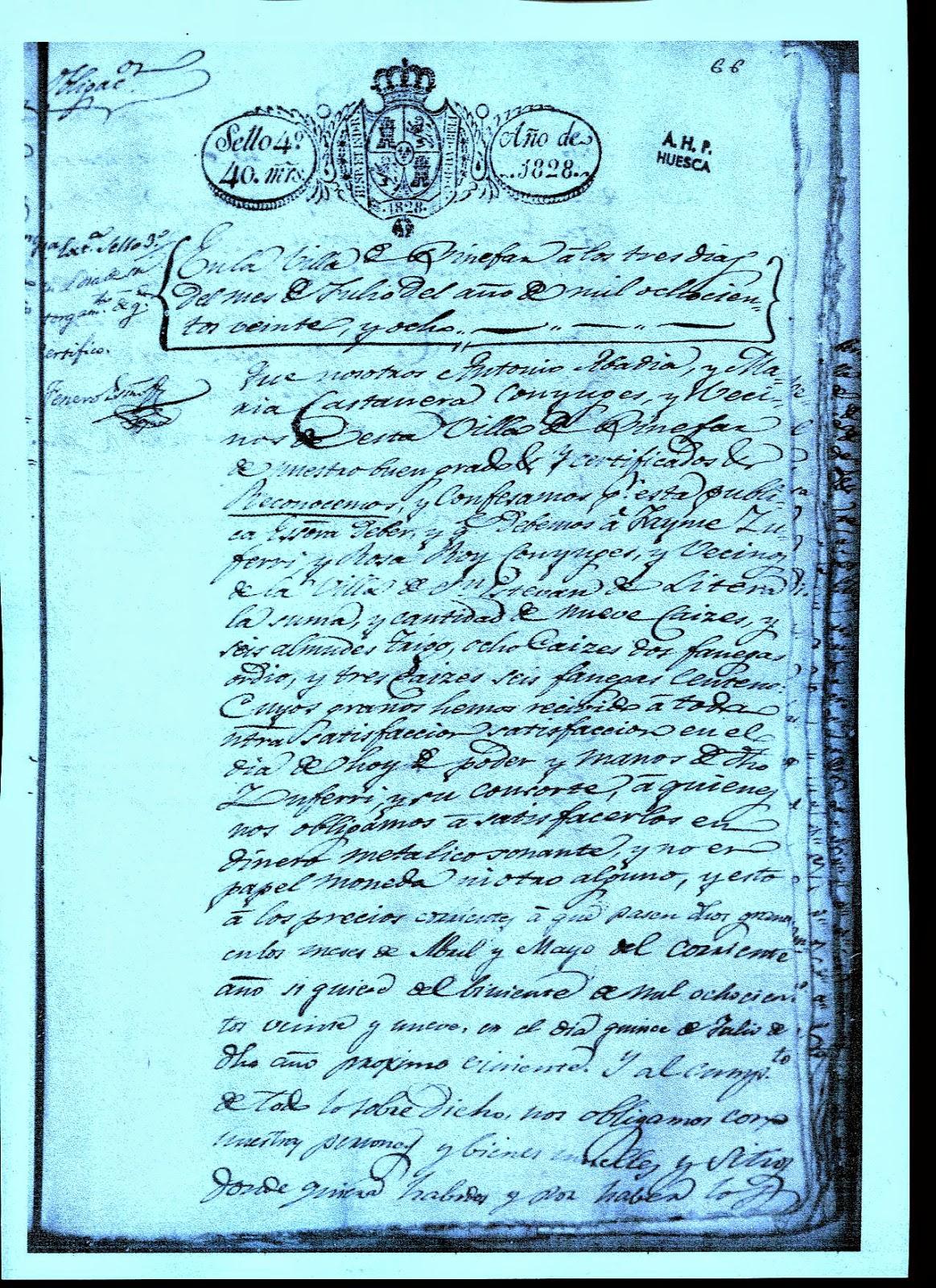 documento notarial fechado en Binéfar en 1828