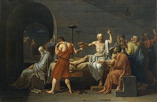 La muerte de Sócrates. Óleo de Jacques-Louis David de 1787.