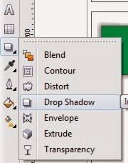 Menu Drop Shadow pada Toolbox CorelDraw