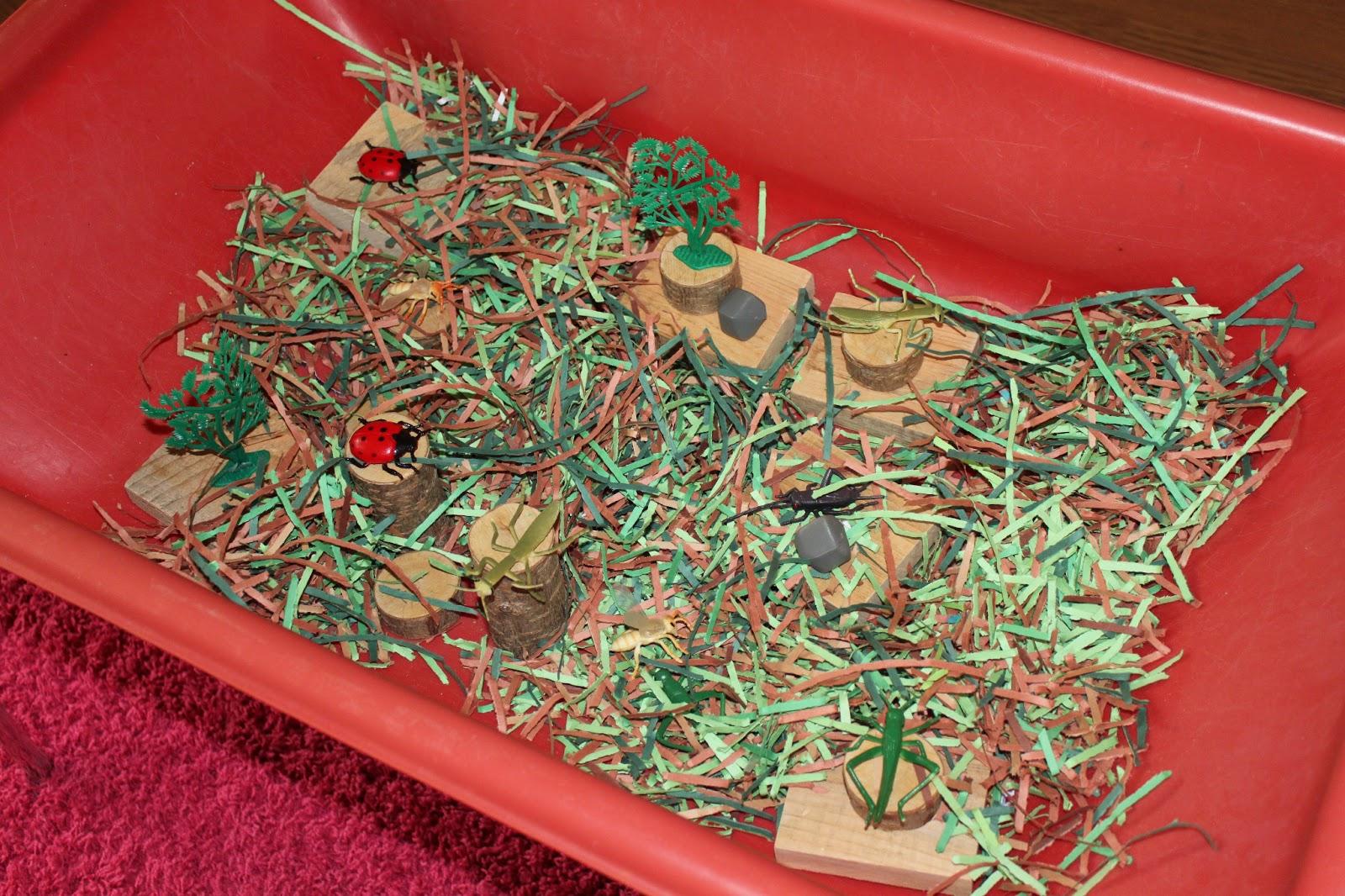 Bug theme shredded paper wood blocks plastic bugs and trees