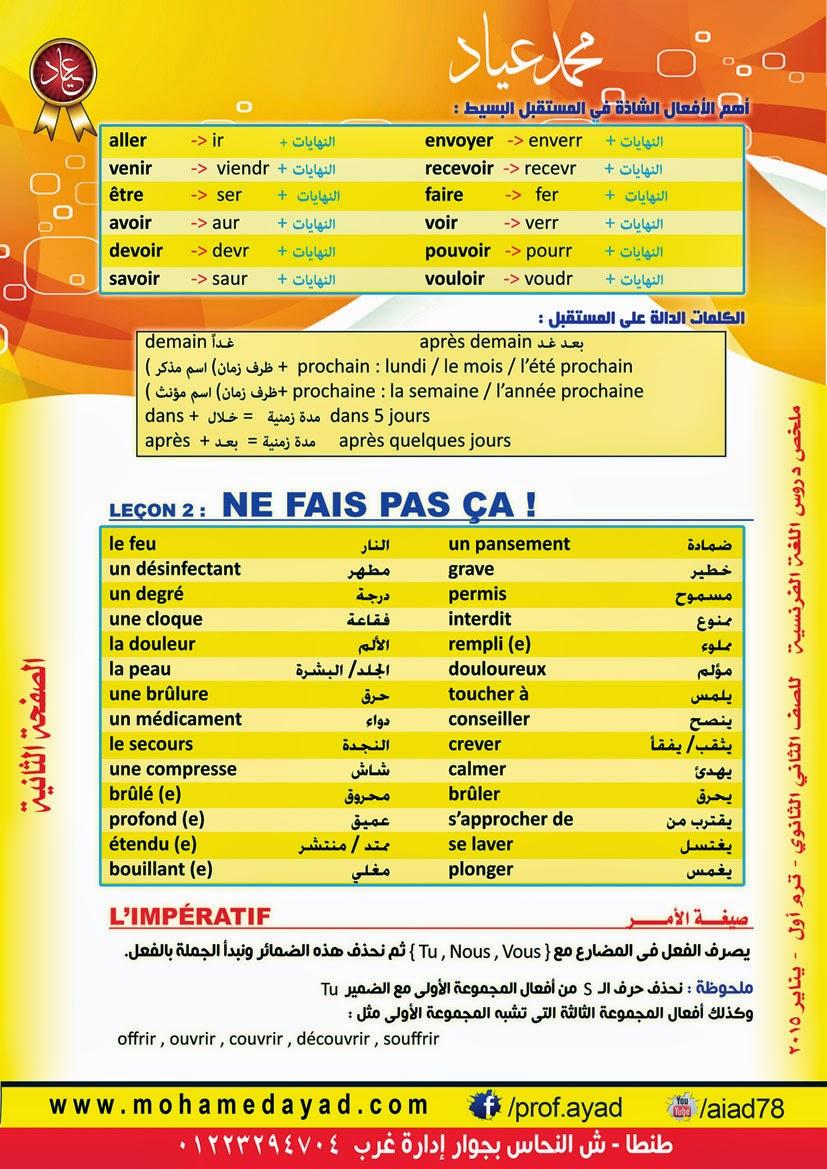 ملخص دروس اللغة الفرنسية، للصف الثاني الثانوي، الفصل الدراسي الاول