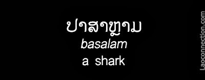 Lao Word of the Day:  A Shark - written in Lao and English