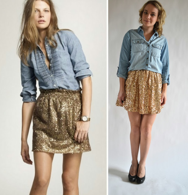 how to wear sequins, what to pair gold with, how to wear gold, gold sequin dress, chambray, how to wear chambray shirts, chambray and gold, fashion ideas, fashion tips, style tips,