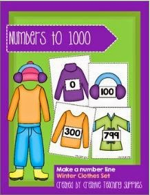 http://www.teacherspayteachers.com/Product/Make-a-Number-Line-Numbers-to-1000-Winter-Clothes-Set-1303234