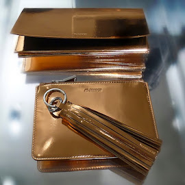 Jil Sander bronze metallic clutches with tassel.