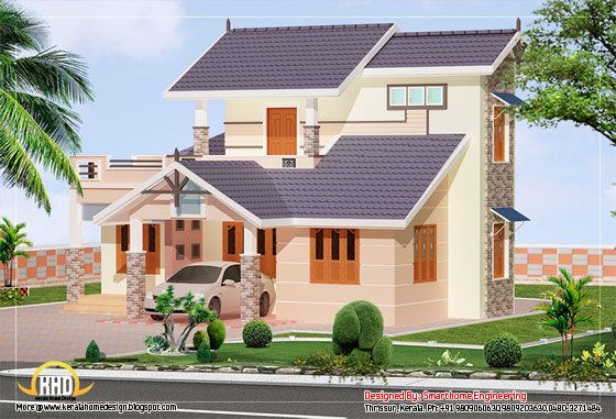 2 story villa elevation design - 1592 Sq. Ft. (147 Sq. M.) (177 Square Yards)-  March 2012