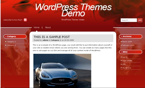 Abstract Artworks Fire Red Wordpress Theme