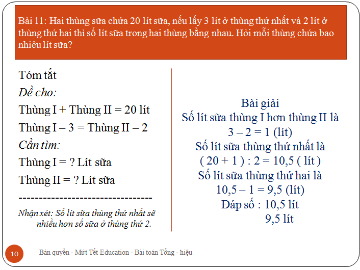 Bài toán tìm hai số khi biết tổng.hiệu(10)