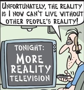 crtež umornog čoveka kako gleda u televizor