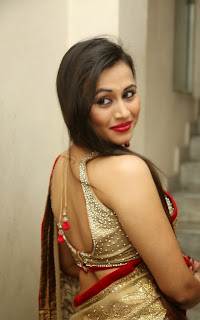 Simran Kapoor Spicy Cute Beautiful Telugu Actress in beautiful Golden Saree Must See