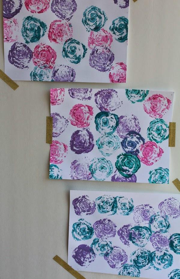 Celery stamp rose paintings
