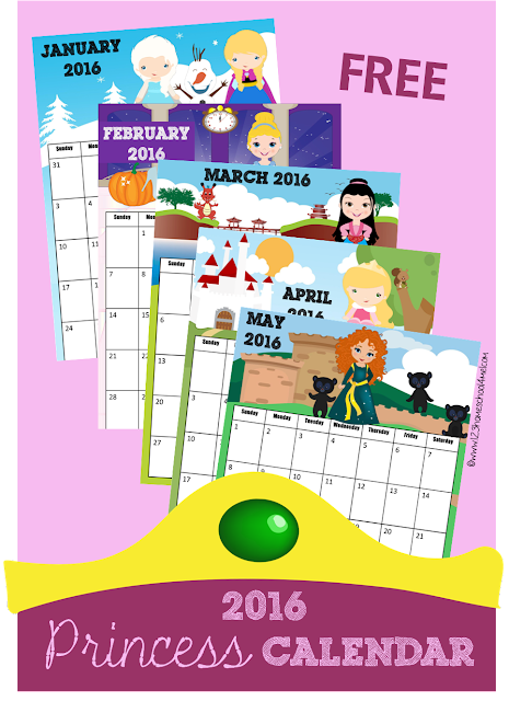 FREE 2016 Princess Calendar - These are SO CUTE!! toddler, preschool, kindergarten, 1st grade and 2nd grade kids will love learning about days, weeks, and moths with these calendars.