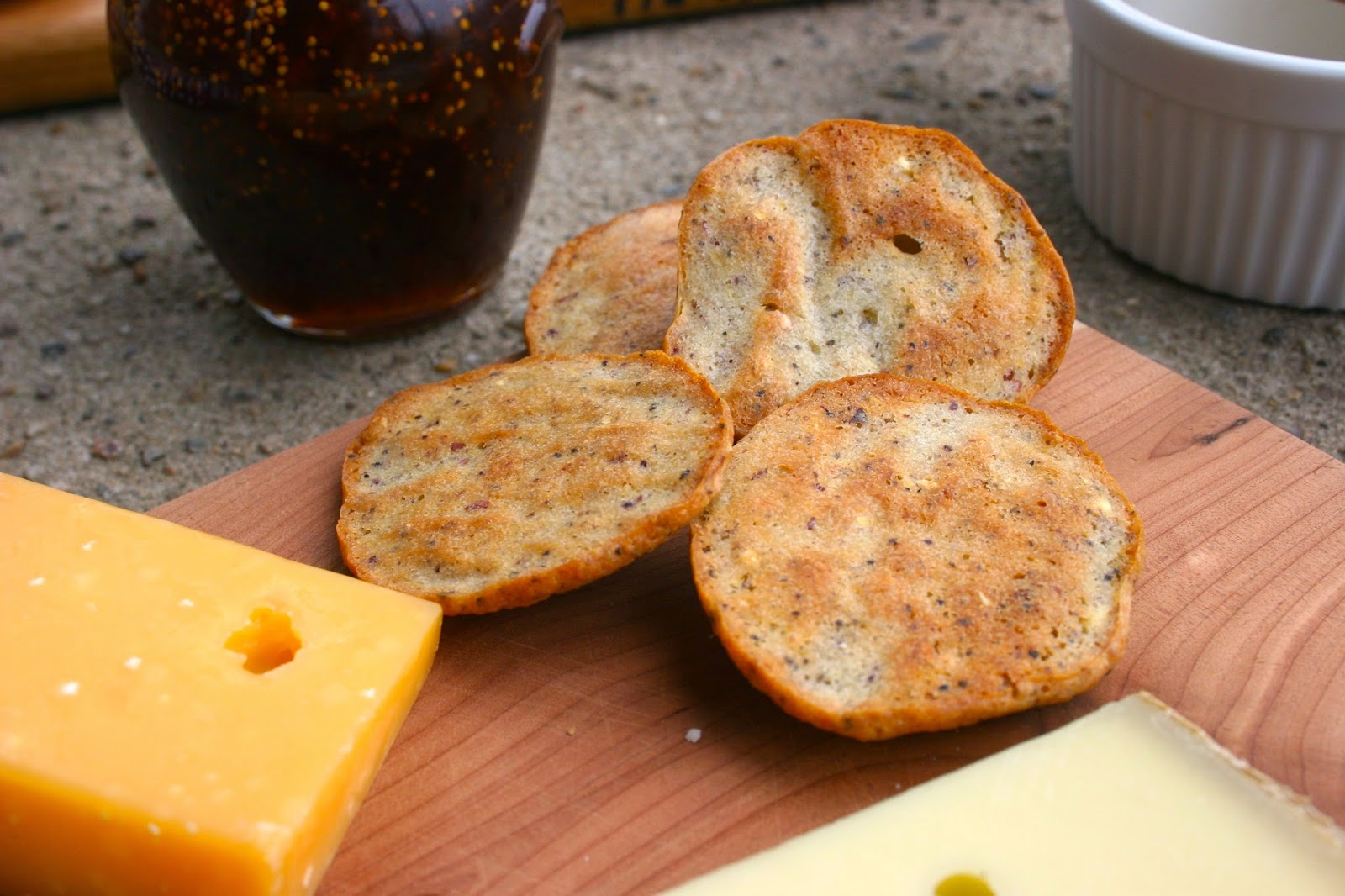 Corn and Black Pepper Crackers with Cheese