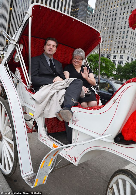 brendan coyle and sandra doshner during their carriage ride