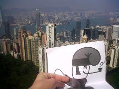 Un catganer en el punt mes alt de Hong Kong.