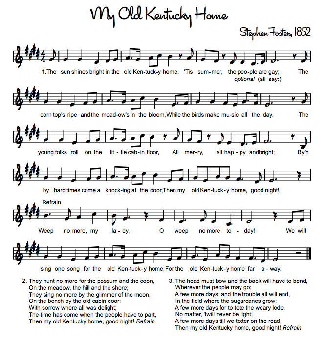 My Old Kentucky Home (state song) – accompaniment here