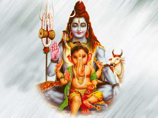 bal ganesh with daddy shiva