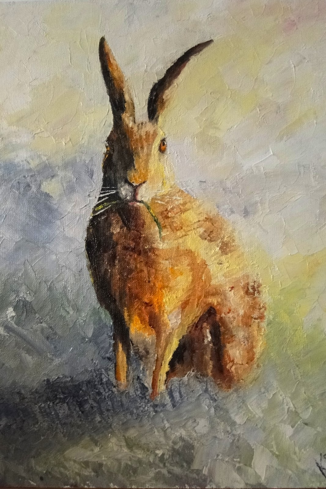 oil painting of Hare in the field, pet portrait by karen