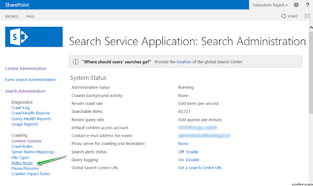Reset Search Index in SharePoint 2013