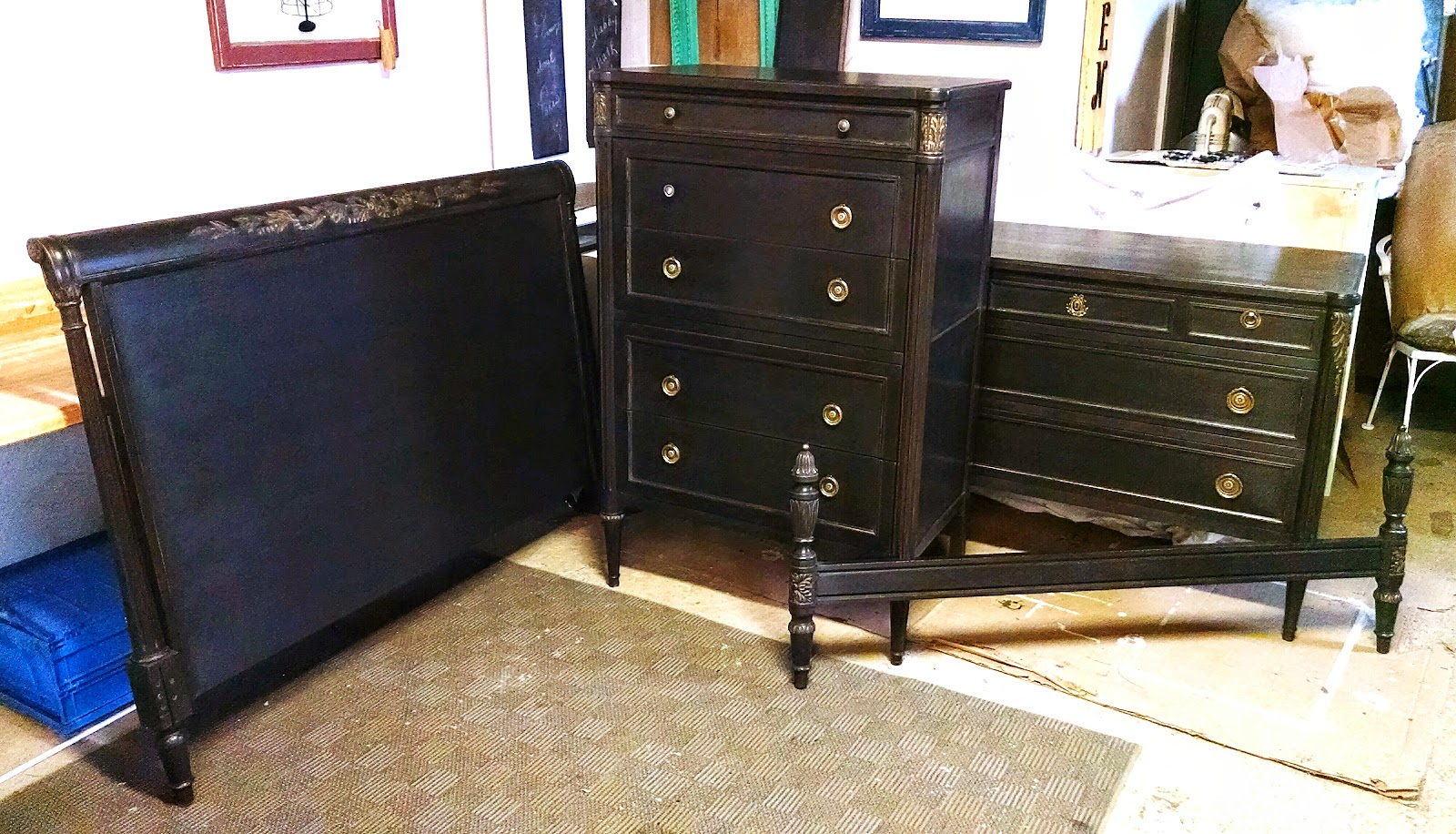 My painted stuff shabby black bedroom suite for Black bedroom suite