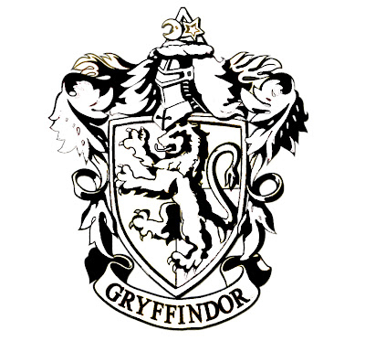 Black and White Gryffindor Crest