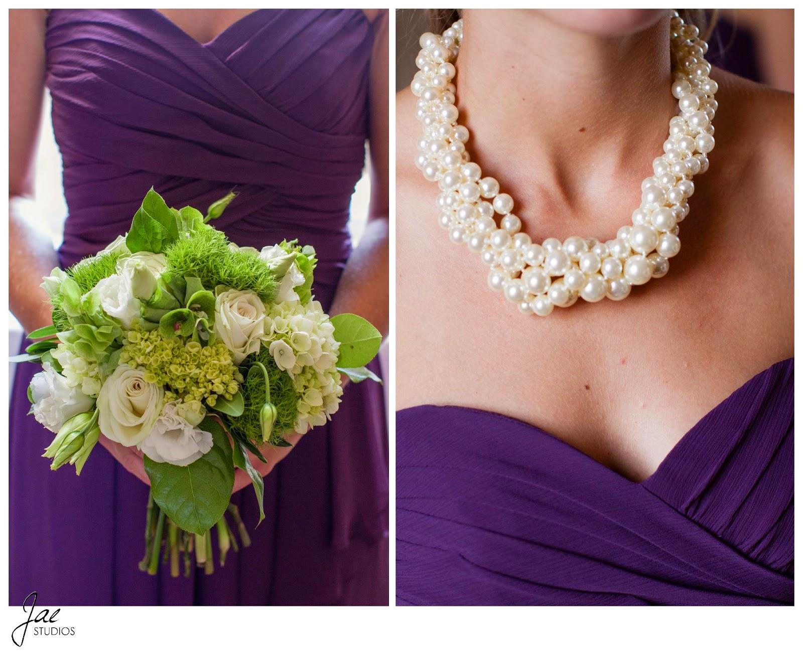 Jonathan and Julie, Bird cage, West Manor Estate, Wedding, Lynchburg, Virginia, Jae Studios, bridesmaids, flowers, bouquet, pearl necklace, sweetheart neckline, purple