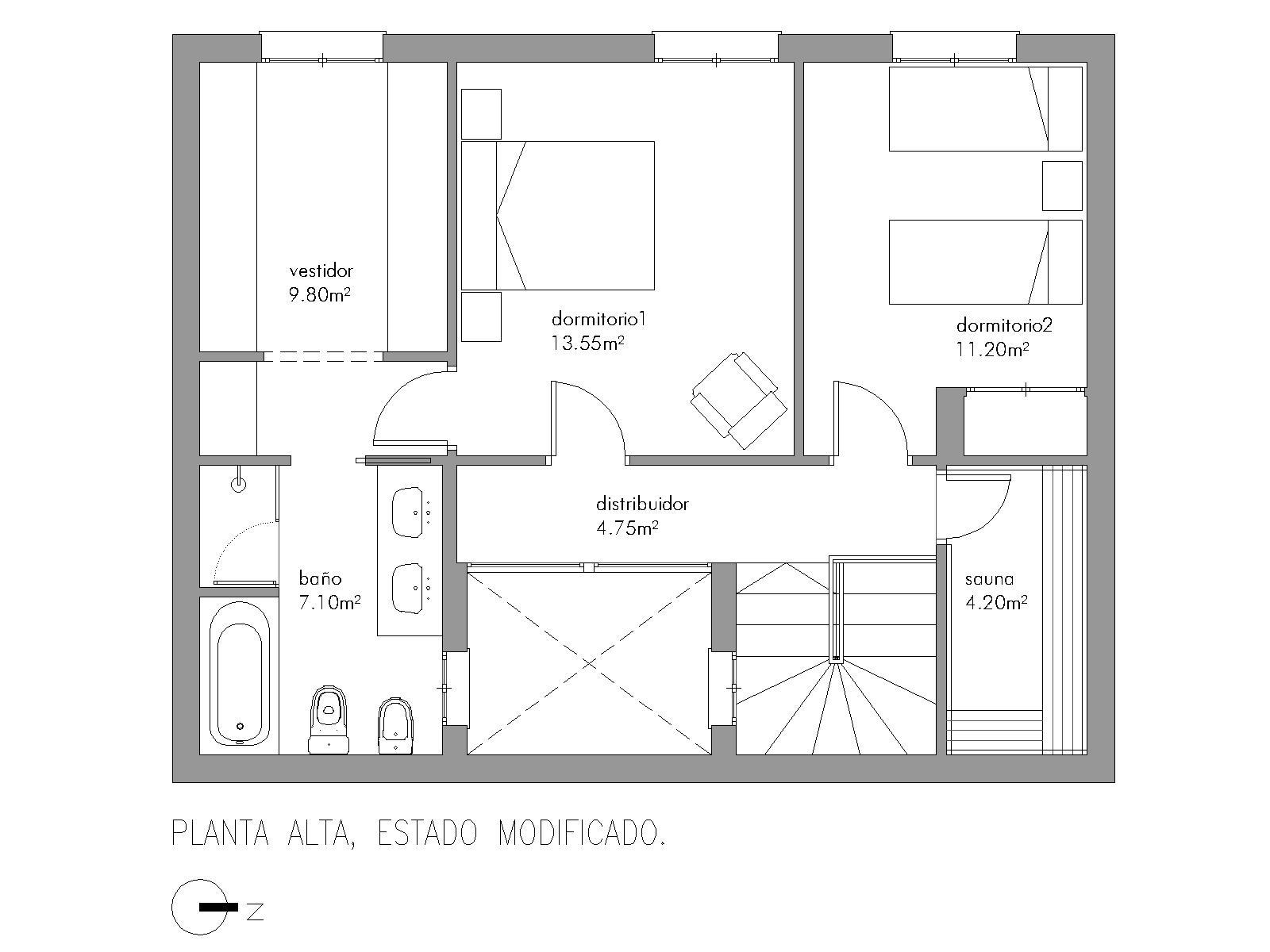 Baño Turco Dimensiones:arquitecto y obras: REFORMA EN PLANTA ALTA DE VIVIENDA