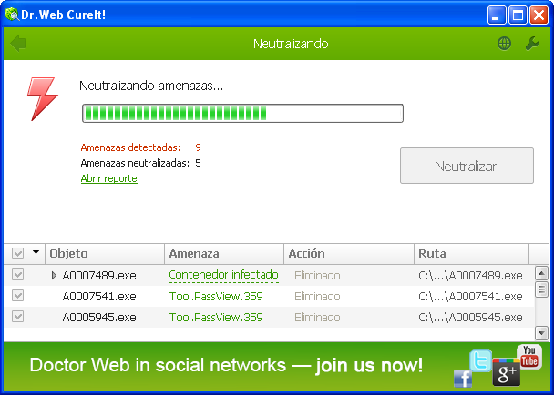 Dr Web neutralizando amenazas